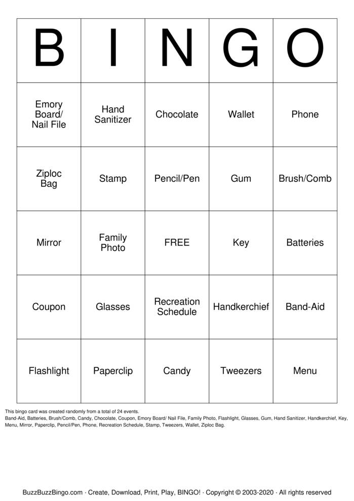 Download Free Handbag Bingo Bingo Cards