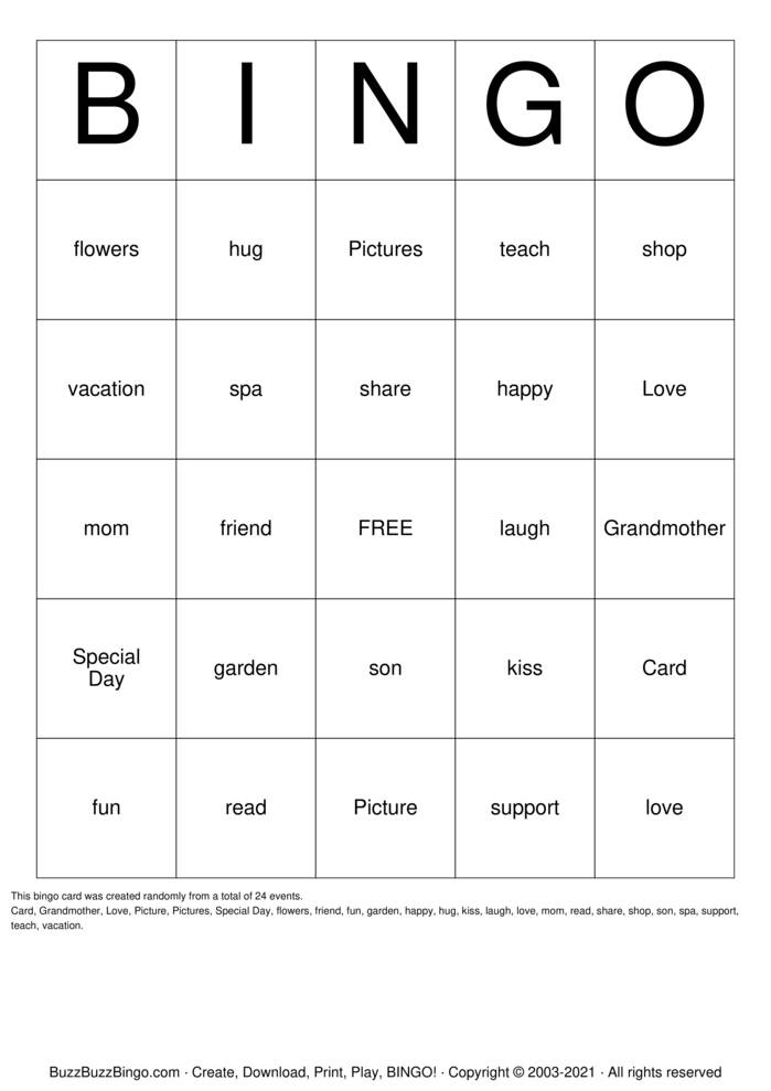 Download Free Mothers Day Bingo Cards
