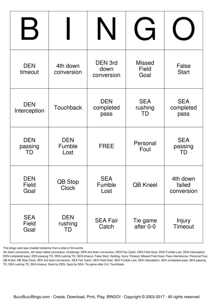 Superbowl Bingo Card