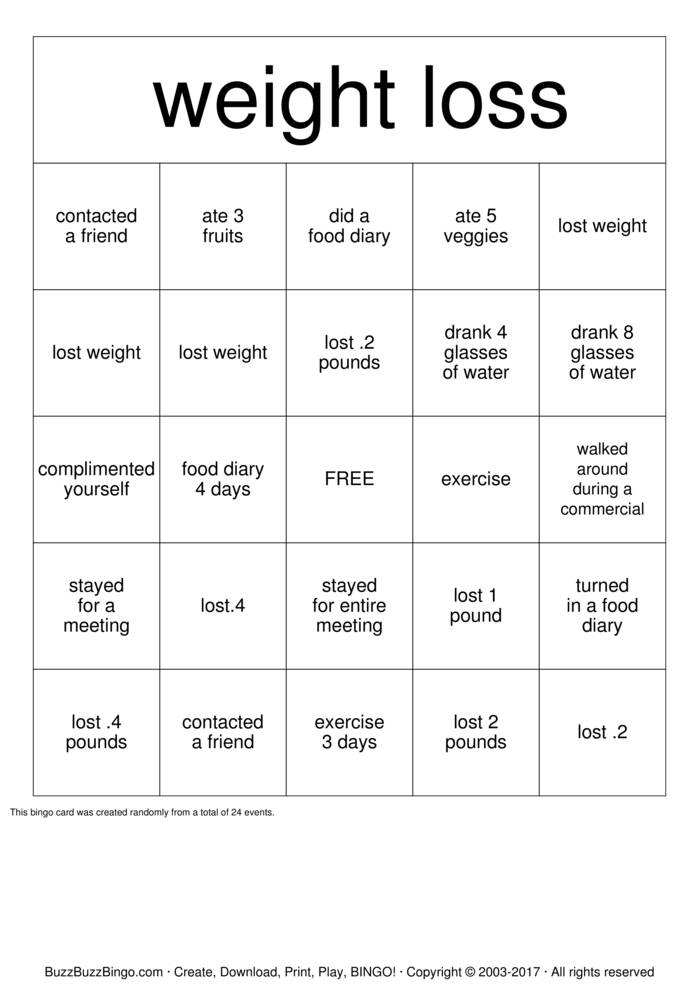 Download  weight loss Bingo Cards