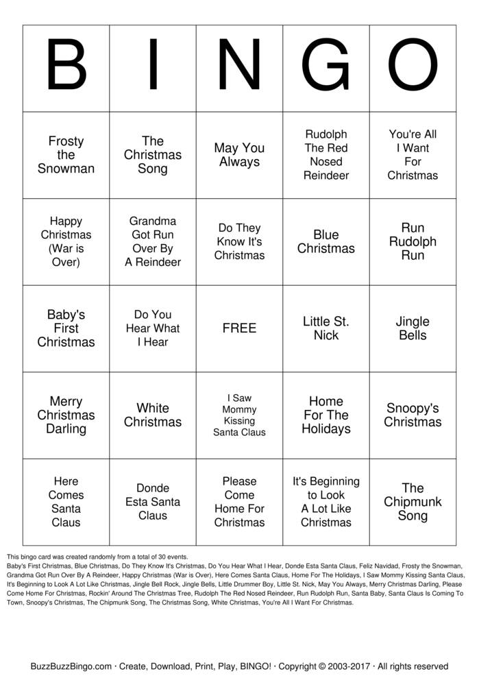 Christmas Songs Bingo Card