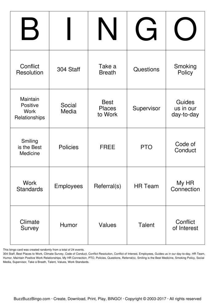HR Buzzword Bingo Card