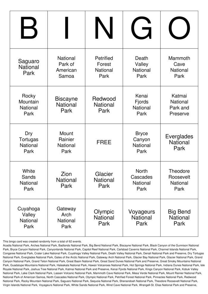 Download Free National Parks Bingo Cards