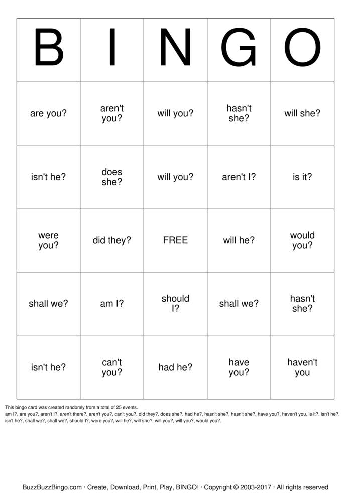 Download Free Question Tags Bingo Cards