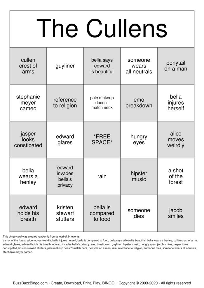 Download Free TWILIGHT BINGO Bingo Cards