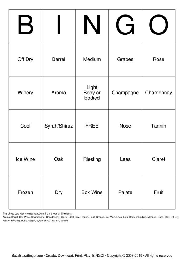 Download Wine Bingo Cards