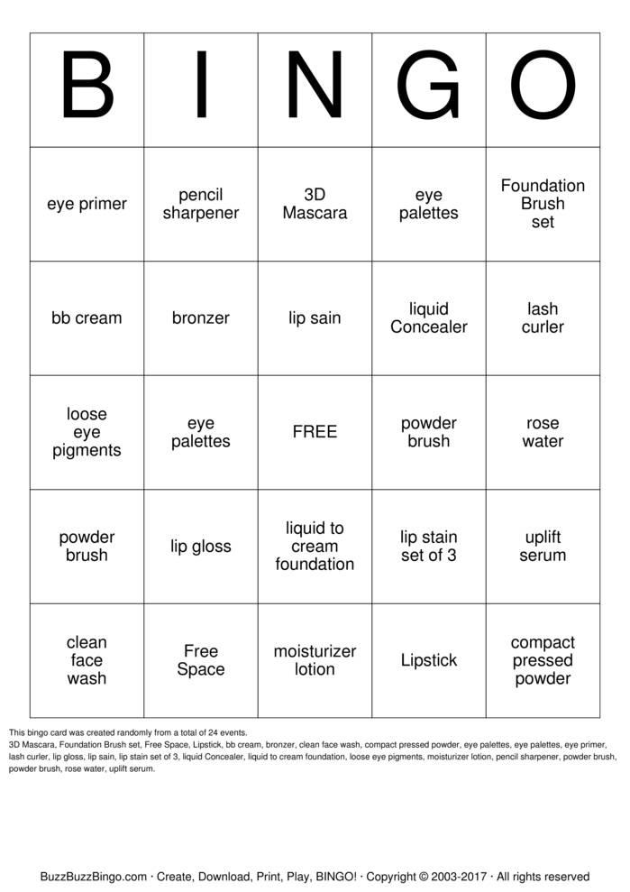 Download Free Younique Bingo Bingo Cards
