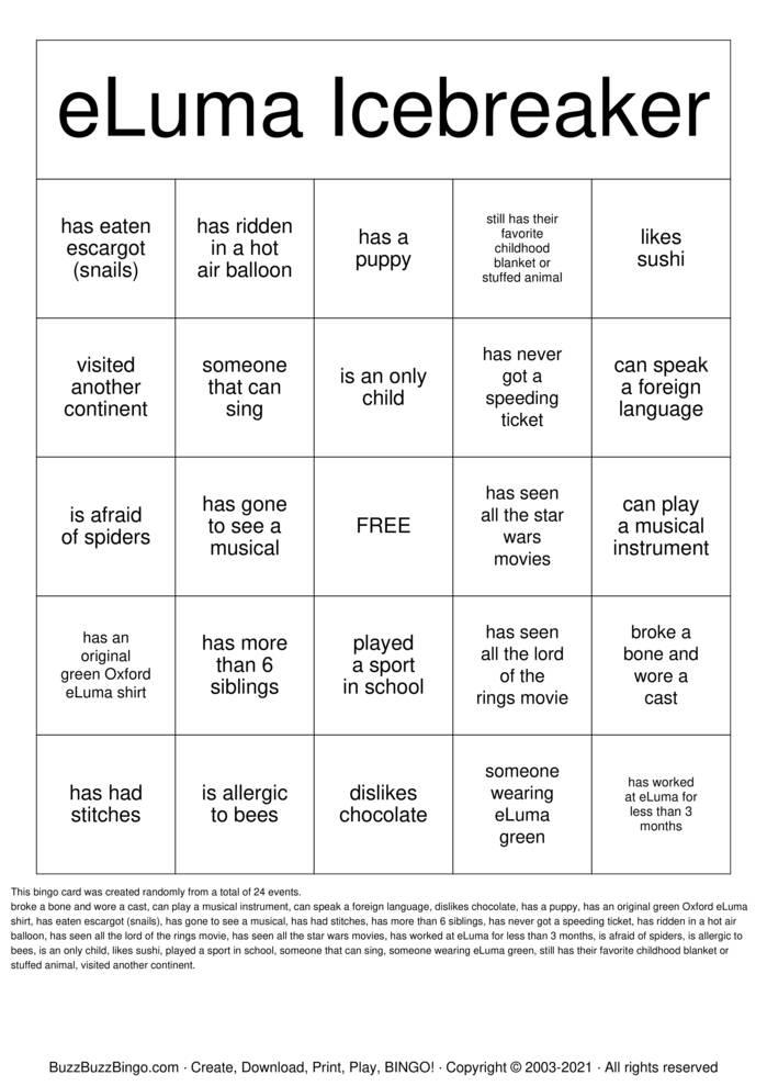 Download Free eLuma 10 Year!  Bingo Cards