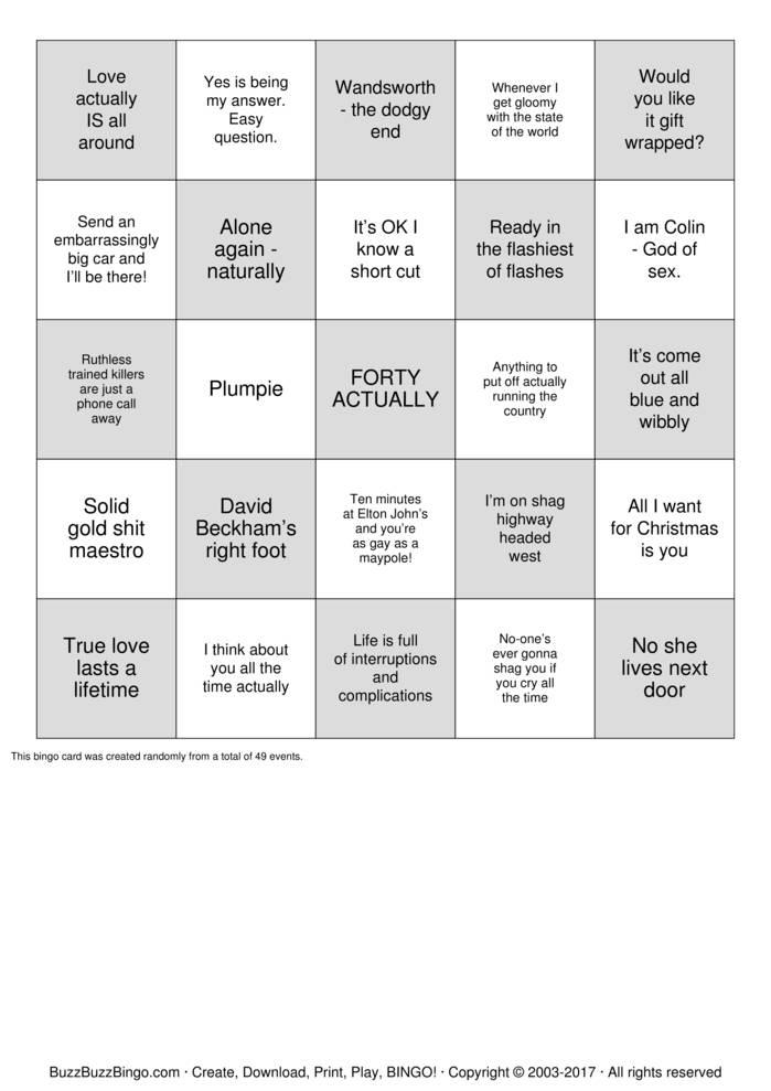 BINGO ACTUALLY Bingo Card