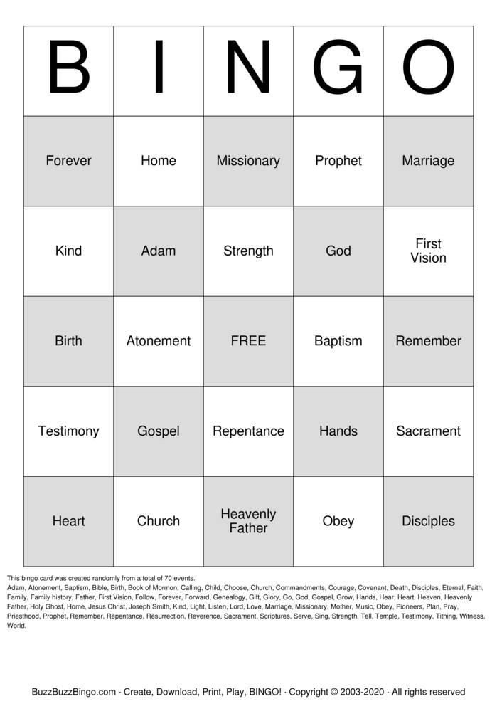 Download Free General Conference Bingo Bingo Cards