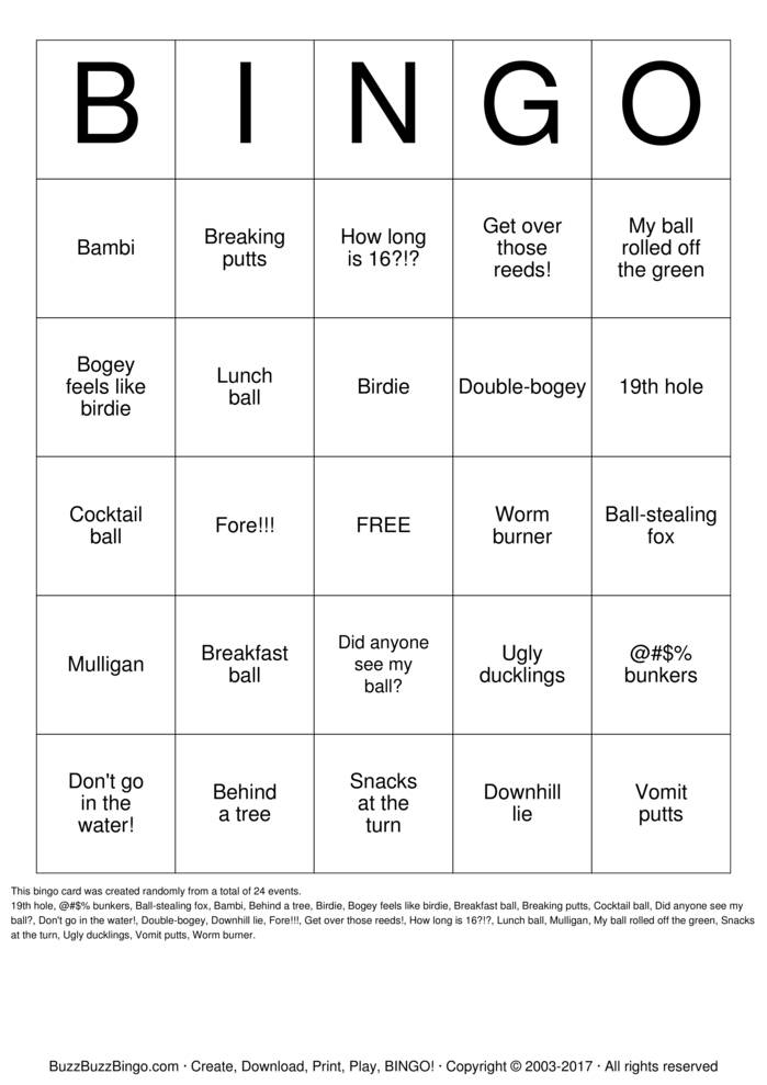 Download Free Golf Bingo Cards