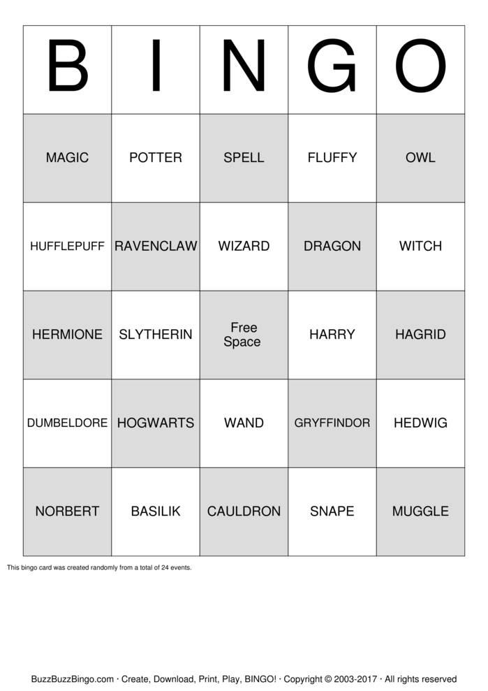 Download Free Harry Potter Bingo Bingo Cards
