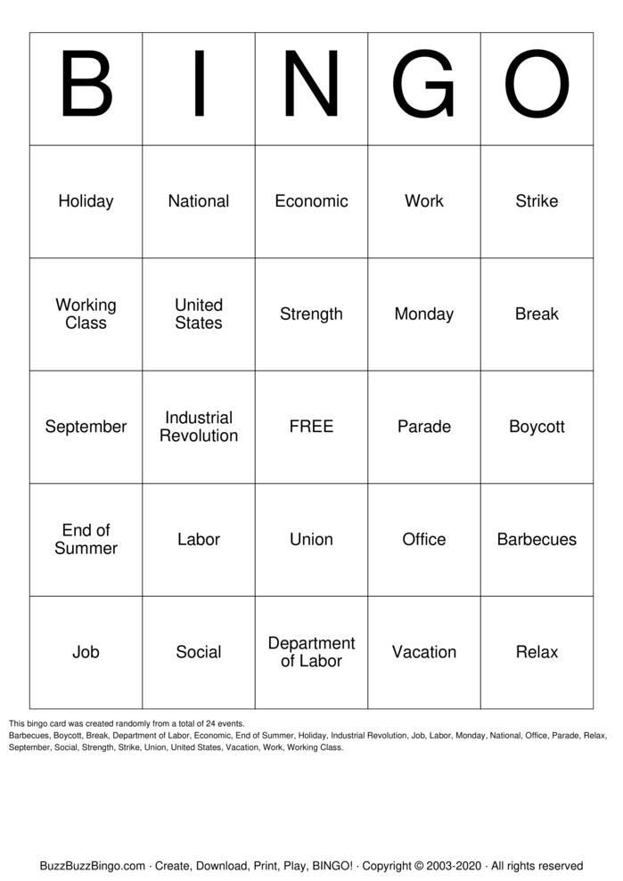 Download Free Labor Day  Bingo Cards