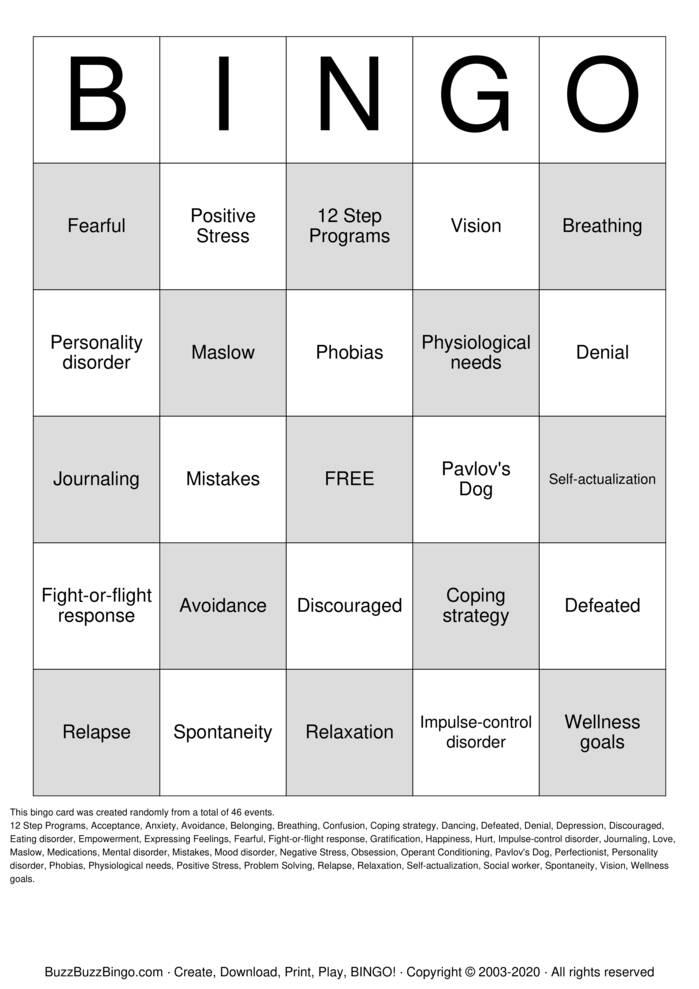 Download Free Mental Health Bingo Cards