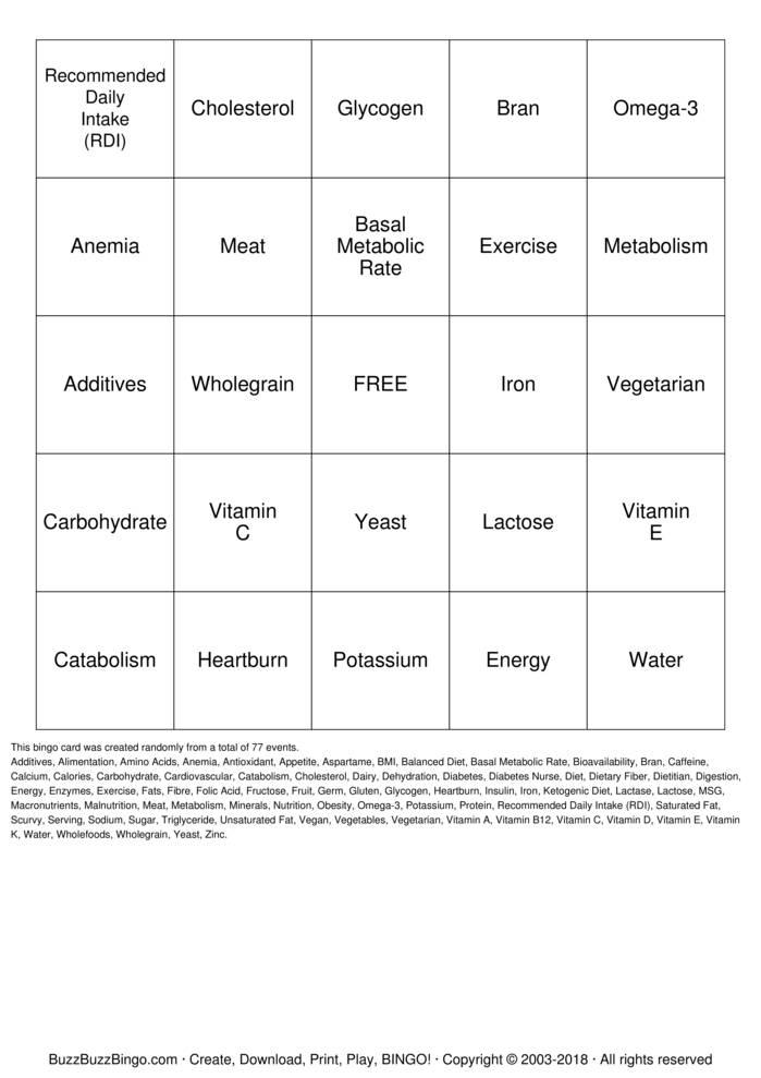Download Free Nutrition Bingo Cards