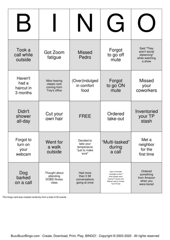 Download Free Work from Home / Quarantine Bingo Cards