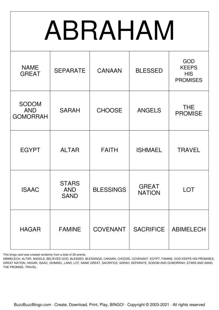 Download Free ABRAHAM Bingo Cards