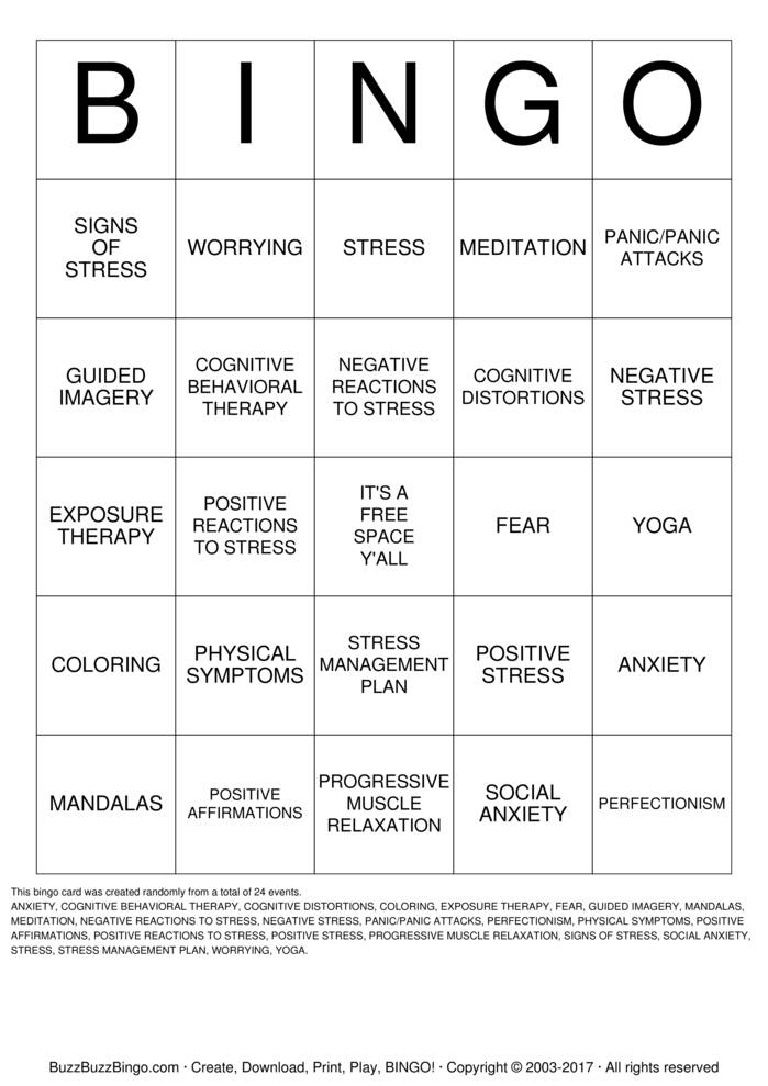 ANXIETY BINGO Bingo Cards to Download, Print and Customize!