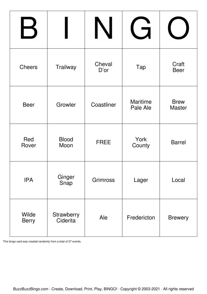 Download Free Beer  Bingo Cards