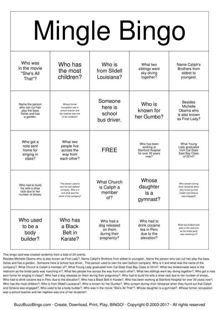 Download Caliphs 50th Birthday Bingo Cards
