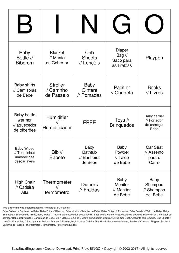 HELENA - BABY SHOWER  Bingo Card