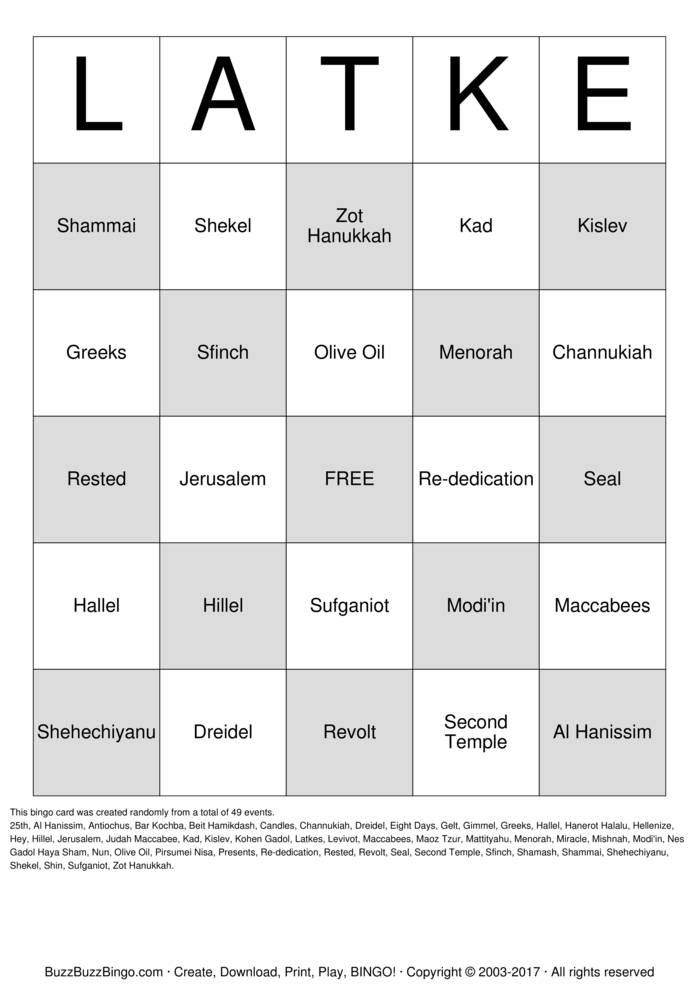 Download Free Hanukkah Bingo Cards