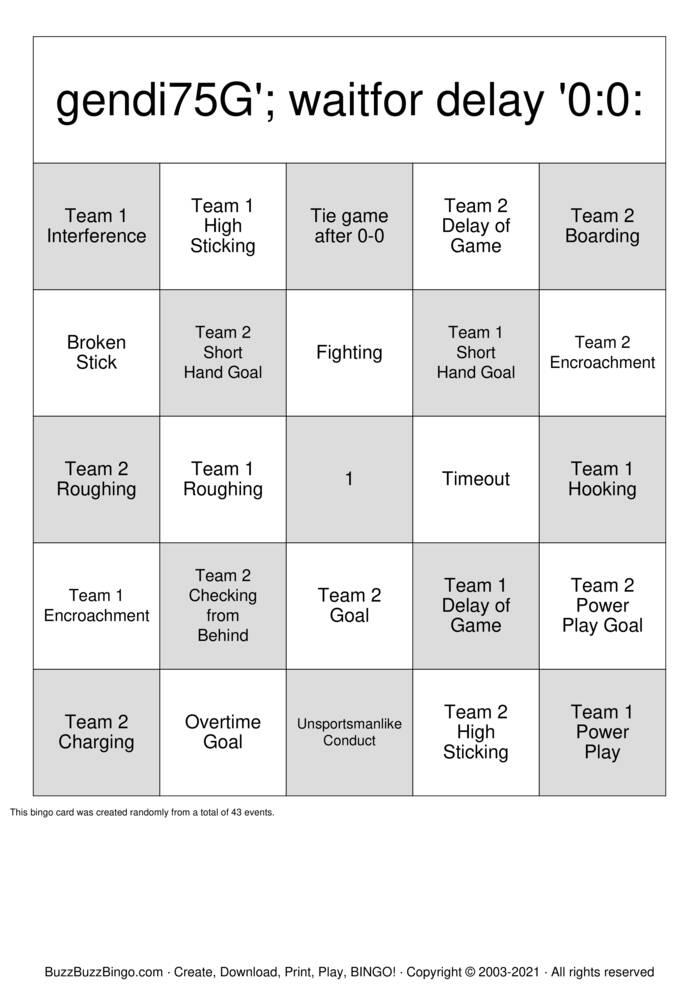 Download Free Hockey Bingo Cards