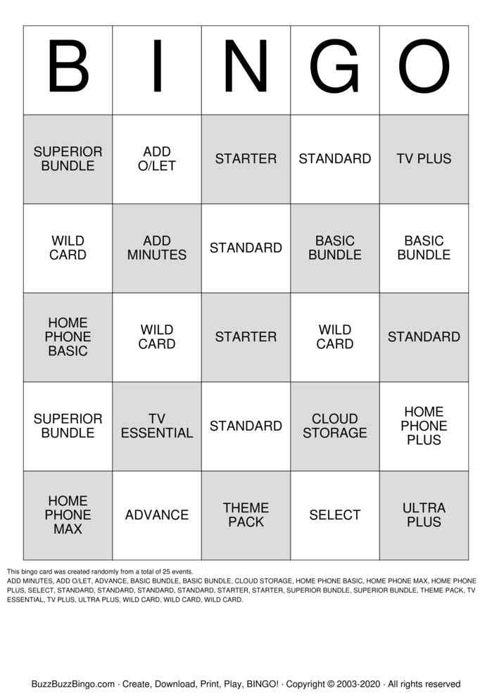 Download Free Retail  Bingo Cards