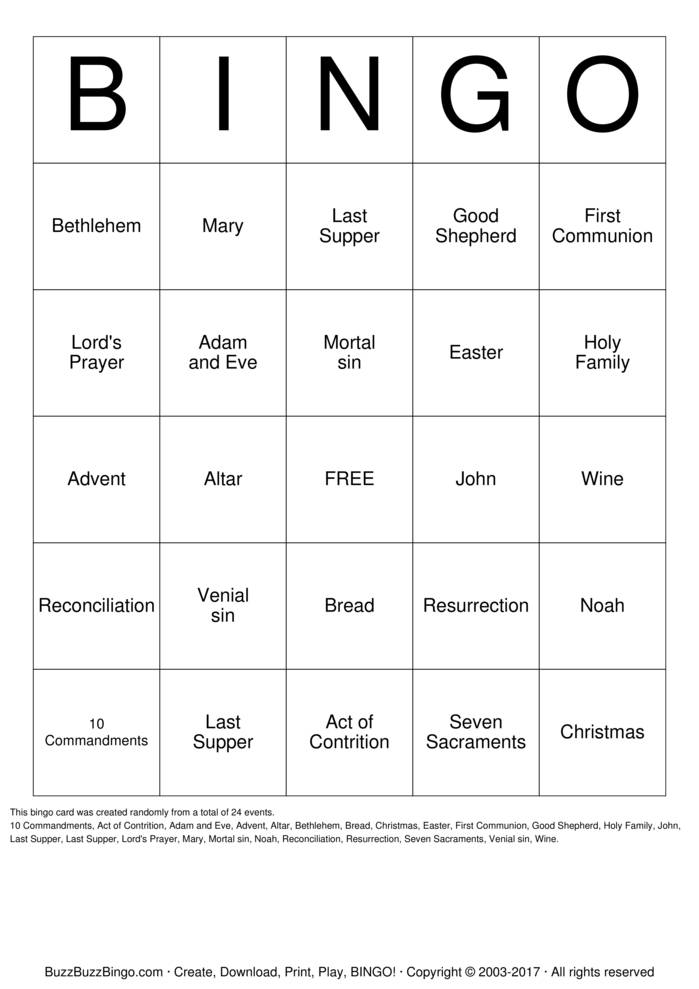 Seven Sacraments Bingo Card