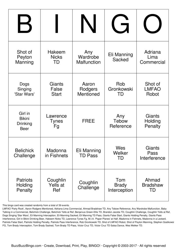 Download Free Super Bowl XLVI Bingo Cards