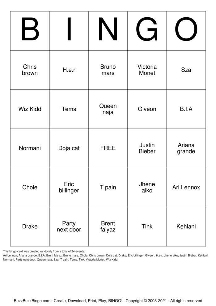 Download Free Wet up Bingo Cards