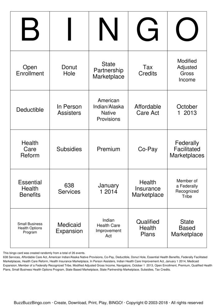 Download ACA BINGO Bingo Cards