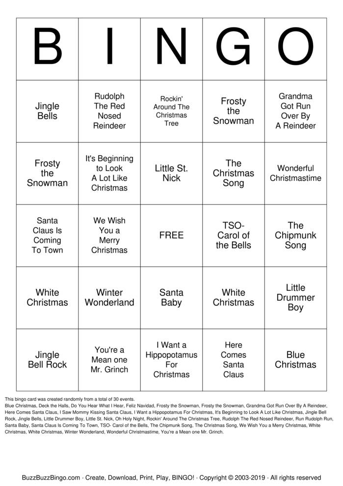 Download Free Christmas Songs Bingo Cards