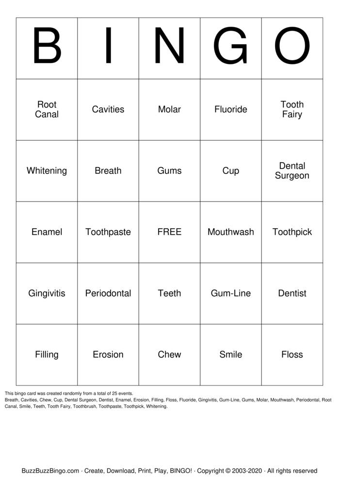 Download Free Dental Bingo Cards