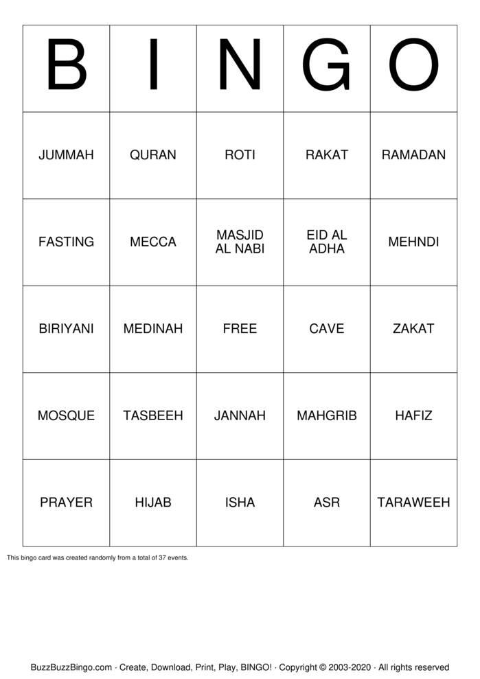 Download Free Islam Bingo Cards