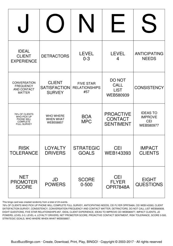 Download Free JONES Bingo Cards