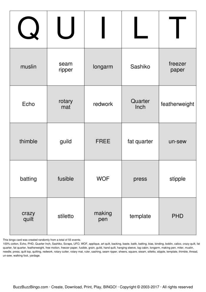 QUILT Bingo Card