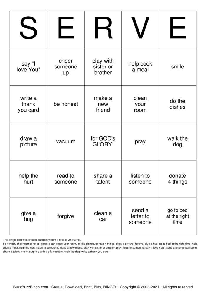 Download Free SERVE BINGO Bingo Cards