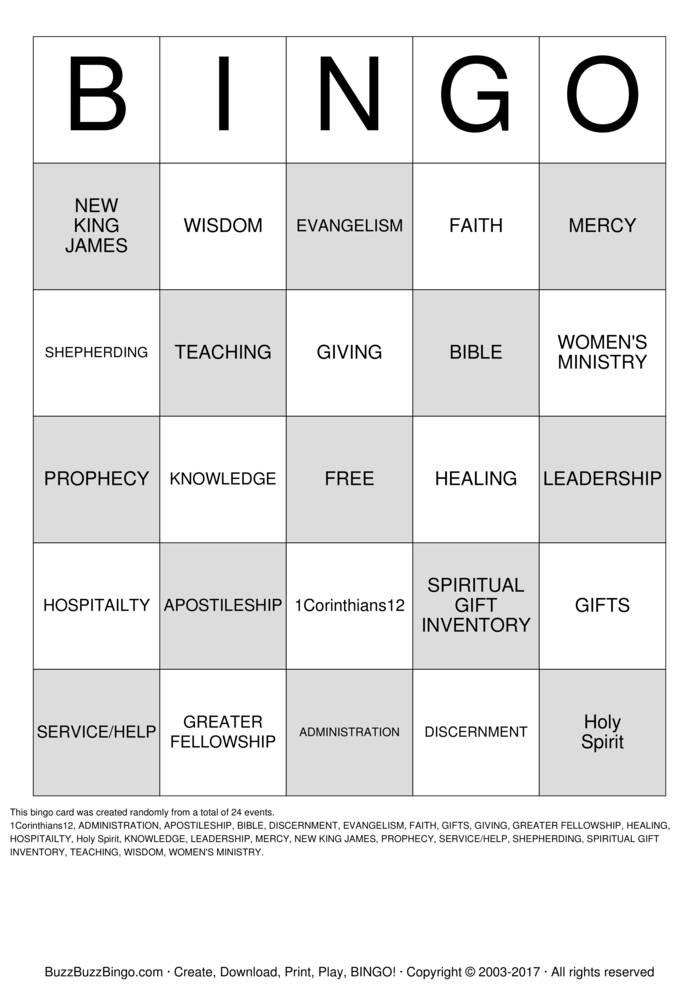 Download Free SPIRITUAL GIFTS Bingo Cards