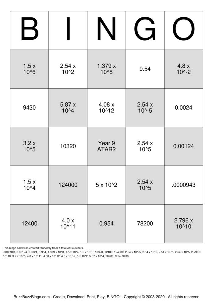 Download Free Scientific Notation Bingo Cards