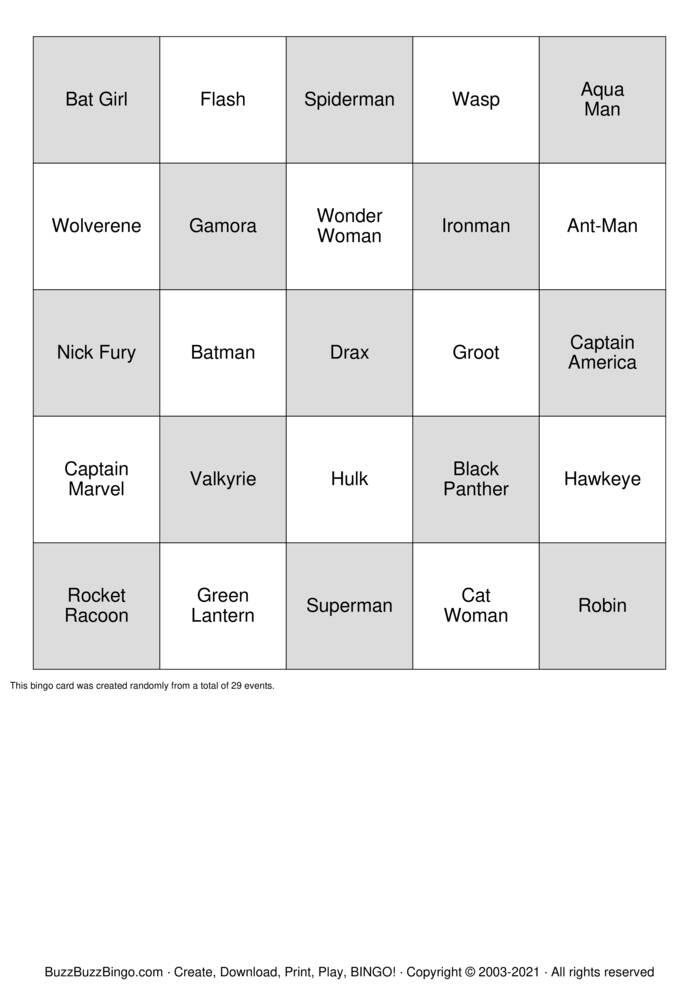 Download Free Super Heroes Bingo Cards