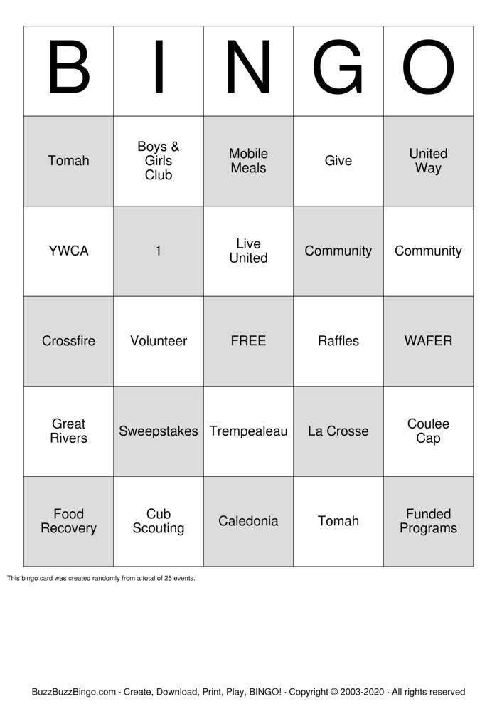 Download Free United Way  Bingo Cards