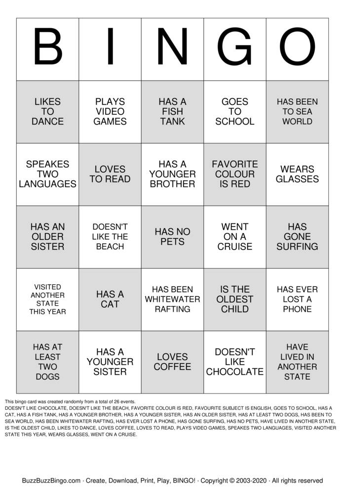 Download Free WELCOME TO YEAR 8 ENGLISH Bingo Cards