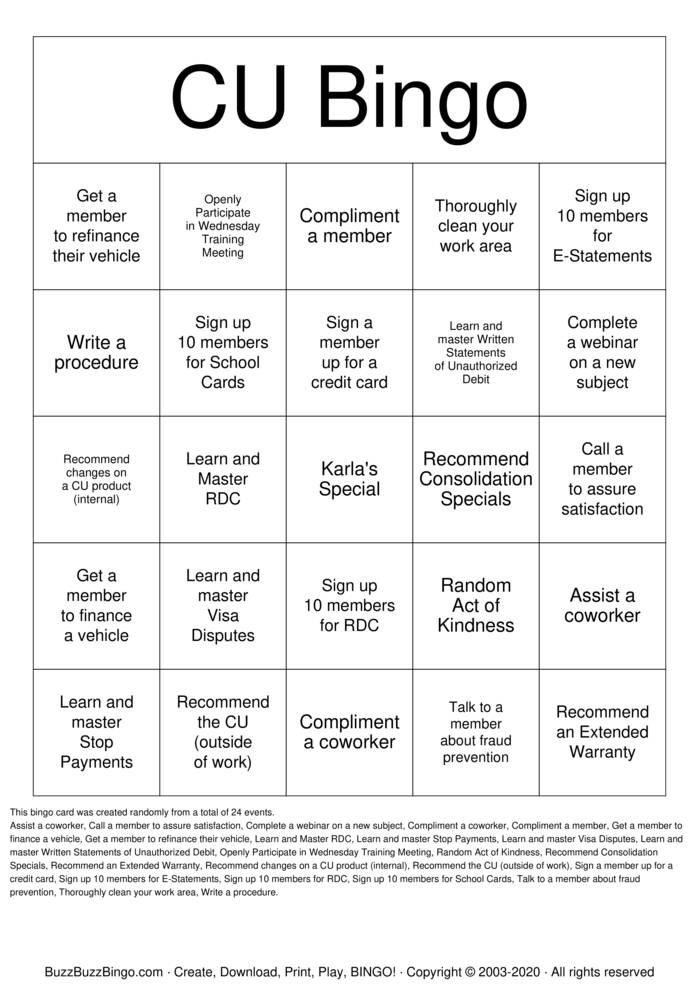 Download Free Blackout Credit Union Bingo Bingo Cards