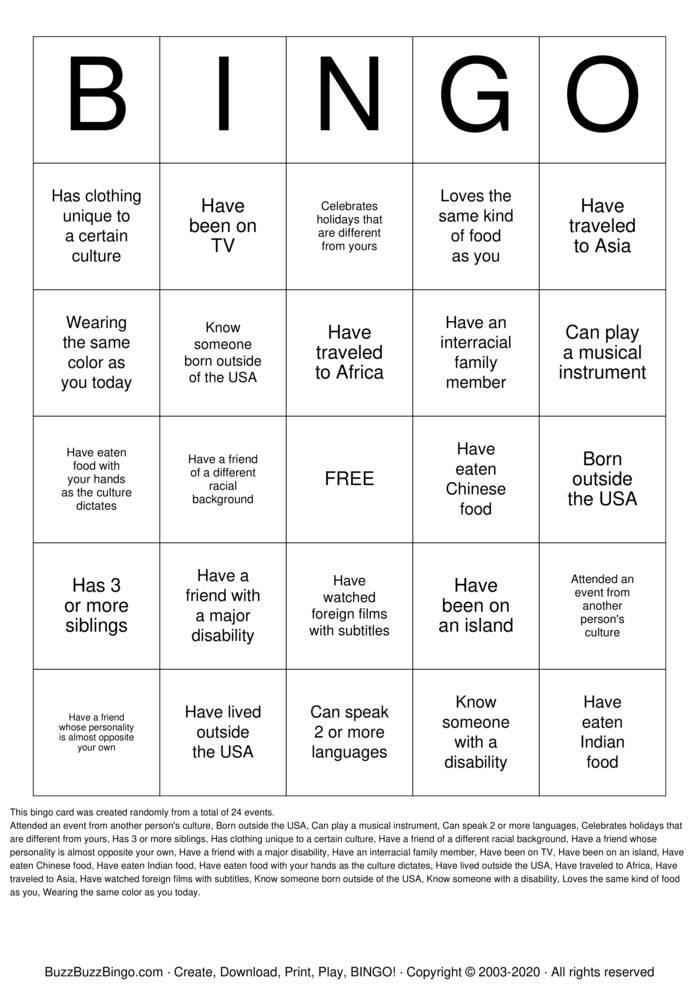Download Free Cultural Diversity Bingo Cards