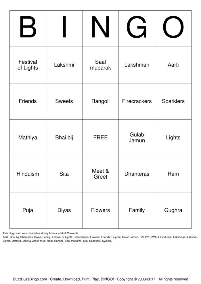 Download Diwali Party Bingo Cards