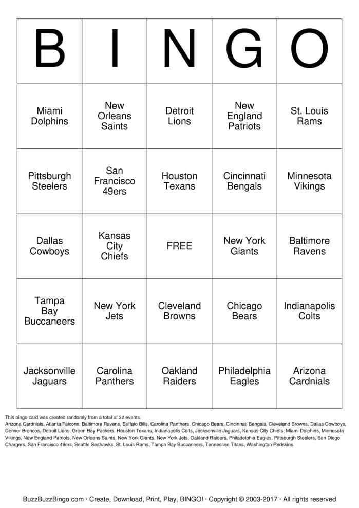Download Free Football Team Names Bingo Cards