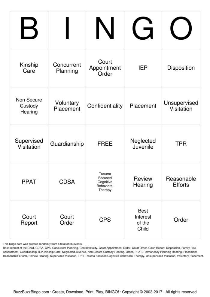 Download Free Guardian ad Litem Bingo Cards