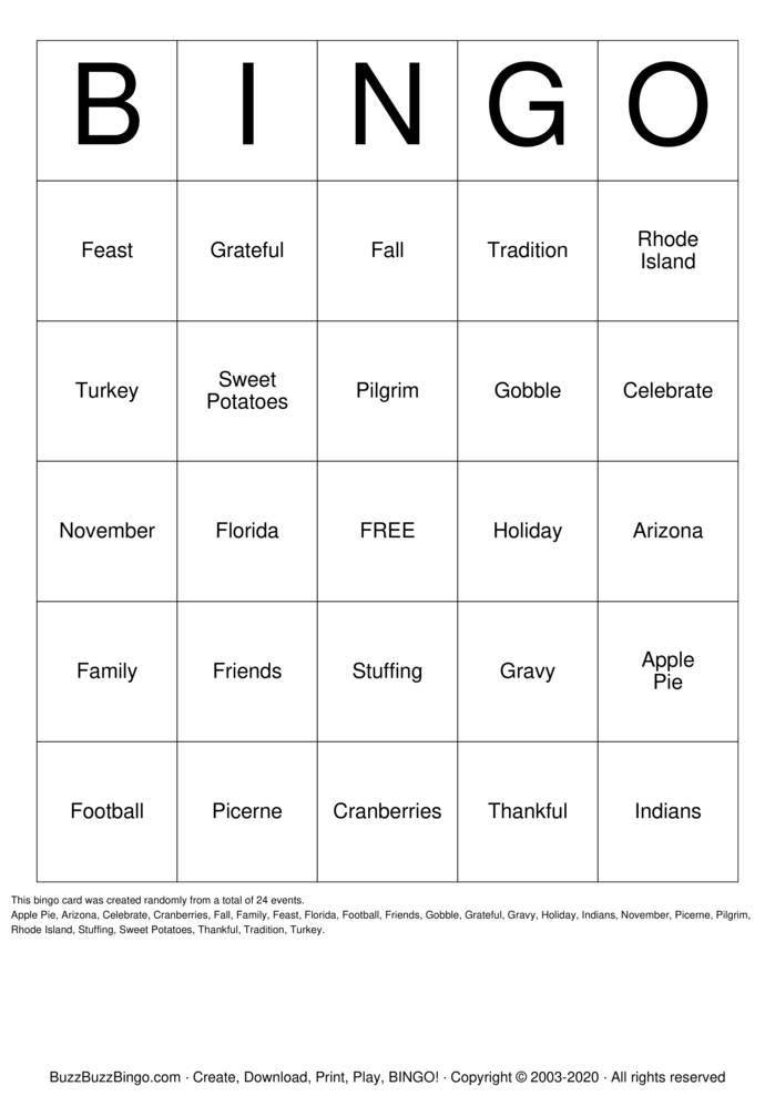 Download Free Happy Thanksgiving Bingo Cards