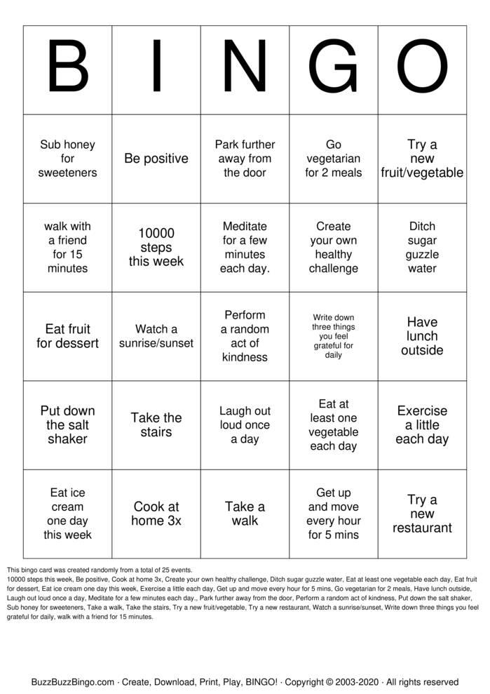 Download Free Healthy Bingo Cards